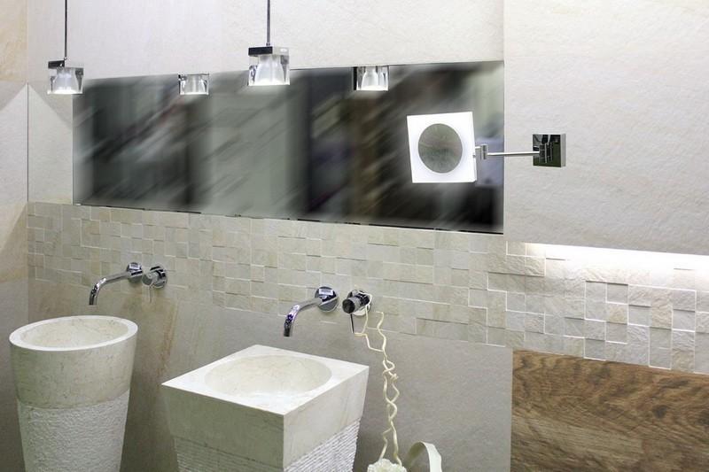 Camilla X3 to ekskluzywne, stalowe podświetlane lusterko LED ze zwierciadłem o powiększeniu 3x.