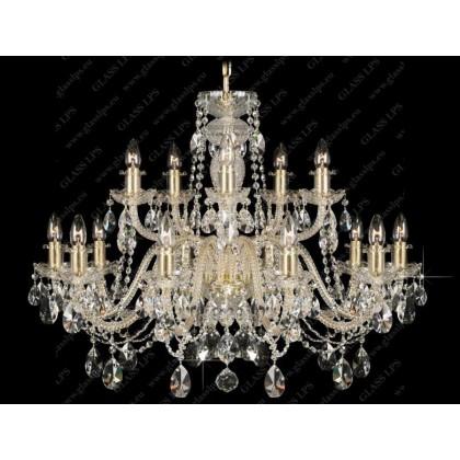 L11 009/15/1-A; GOLD, lip. - Glass LPS - kryształowy żyrandol/lampa wisząca - L11 009/15/1-A; GOLD, lip. - tanio - promocja...