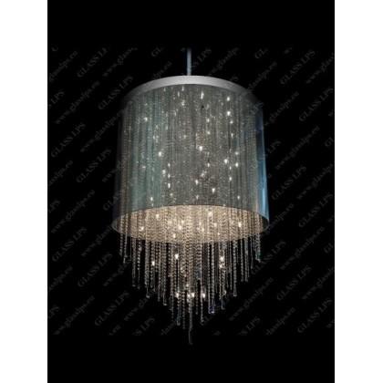 L17 701/40/3, 3-K; F tube, shade (transparent), Ni - Glass LPS - kryształowy żyrandol/lampa wisząca - L17 701/40/3, 3-K; F ...