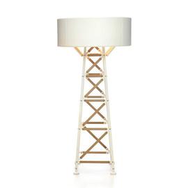 Construction H185 naturalne drewno, biały - Moooi - lampa podłogowa