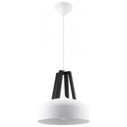 Lampa Wisząca CASCO Biała/Czarne Drewno - Sollux - SL.0387 - tanio - promocja - sklep