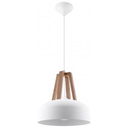 Lampa Wisząca CASCO Biała/Naturalne Drewno - Sollux - SL.0388 - tanio - promocja - sklep