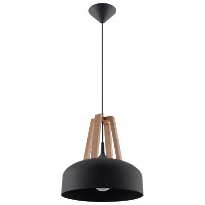 Lampa Wisząca CASCO Czarna/Naturalne Drewno - Sollux - SL.0390 - tanio - promocja - sklep