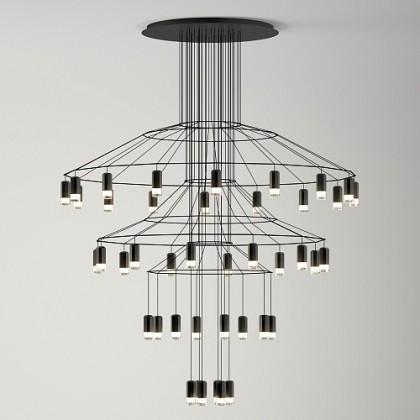 Wireflow Chandelier 0377 czarny - Vibia - lampa wisząca - 0377041A - tanio - promocja - sklep