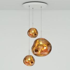 Melt Trio Round złoty - Tom Dixon - lampa wisząca
