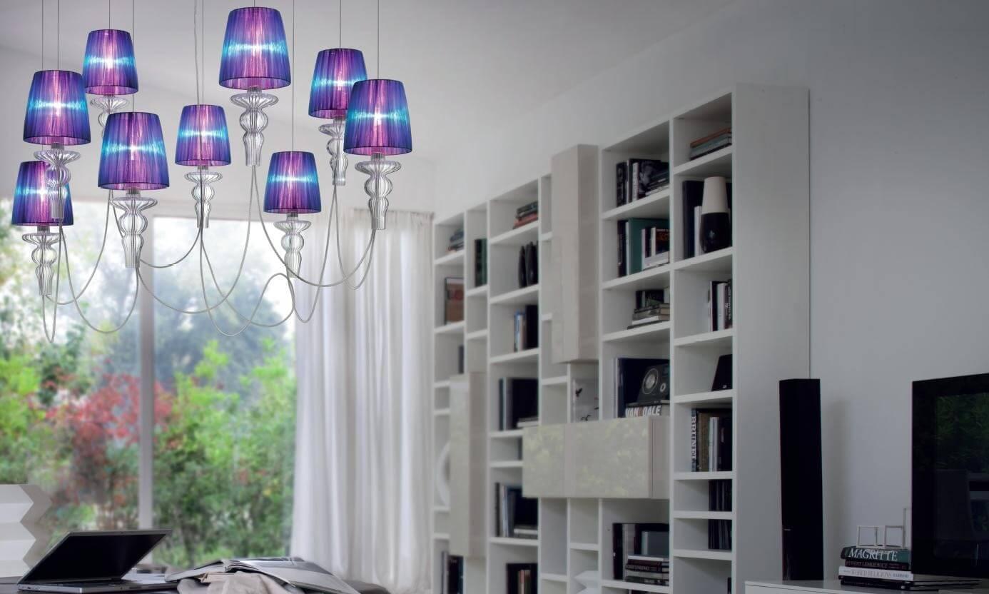 Ciekawie wykonana, modernistyczna wyjątkowa lampa wisząca do salonu włoskiego producenta oświetlenia Evi Style.